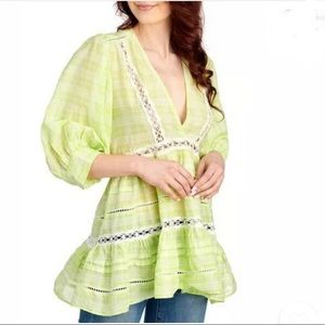 Free people time out plaid lace green peasant top